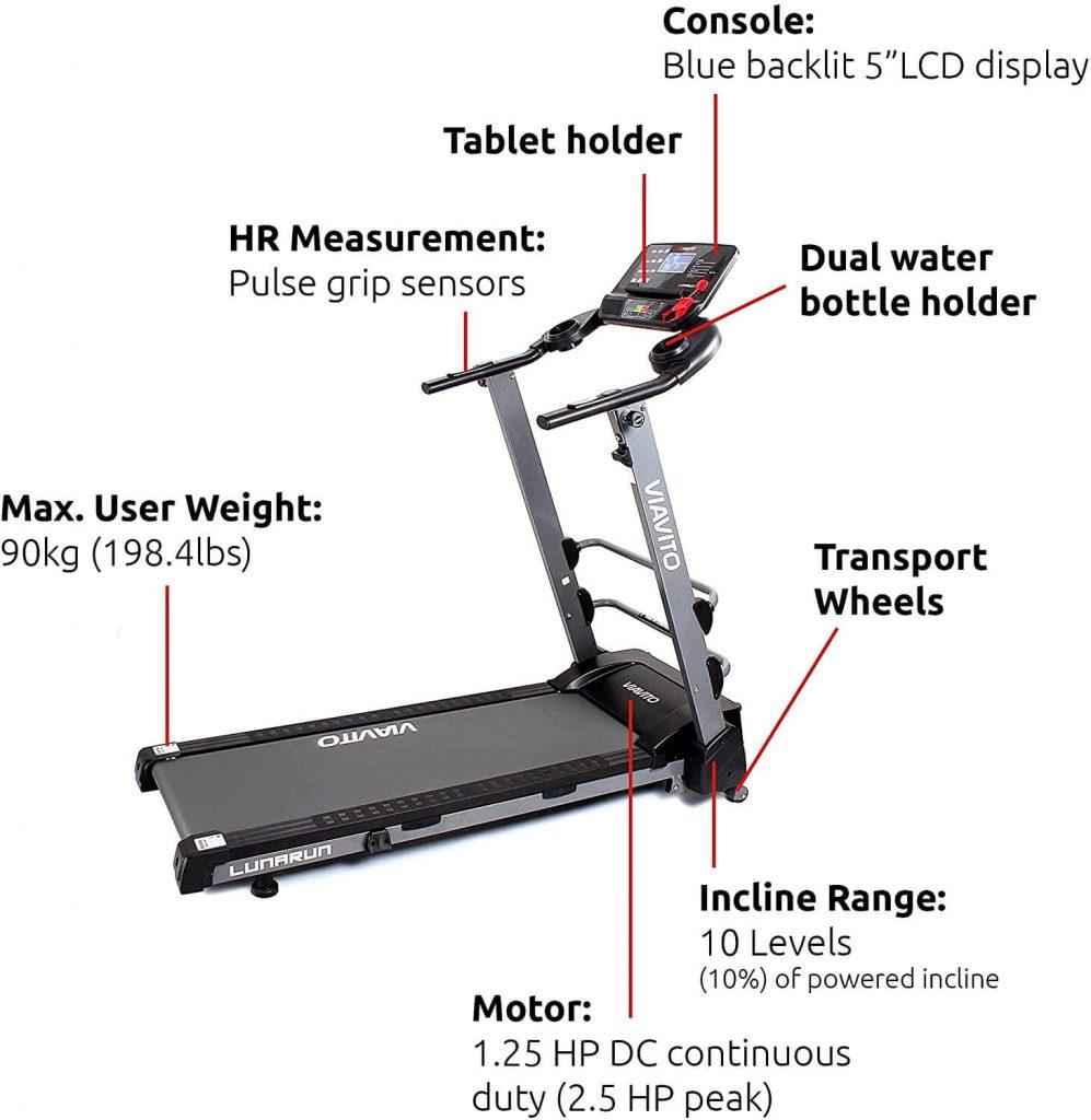 viavito lunarun fold flat treadmill build quality